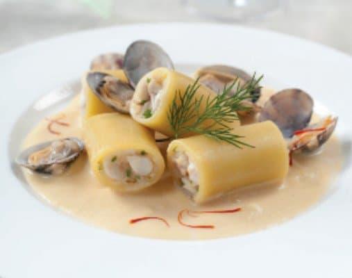 Paccheri e frutti di mare inpiattati